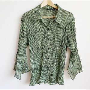 90s micro pleat green and black blouse